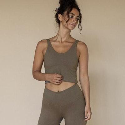 Yogatopp Ananda top Ash (brun/grön)- Indigo Luna