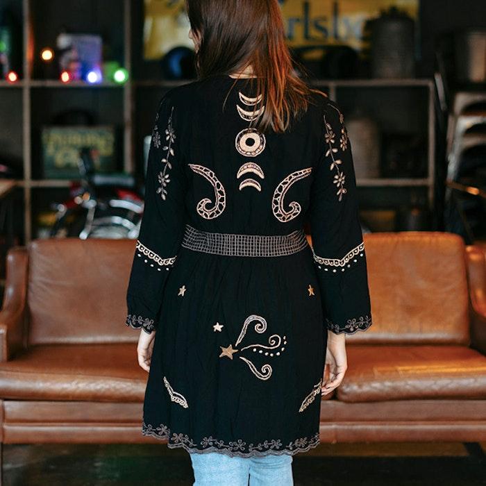 Kimono Angelina Duster Mini Black - Zaimara