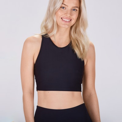 Sport-BH Yoga Midi Crop Top Black - Sisterly