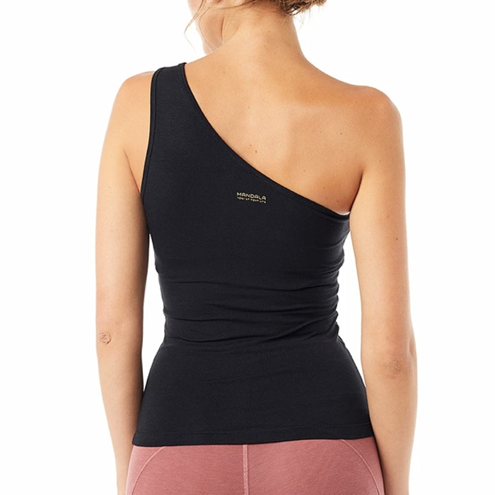 Yogalinne One Shoulder Top Black - Mandala