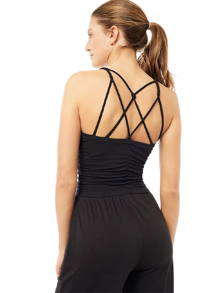 Yogalinne Cable Bra Black - Mandala