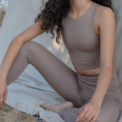 Yogaleggings High Rise Long Limestone - Girlfriend Collective