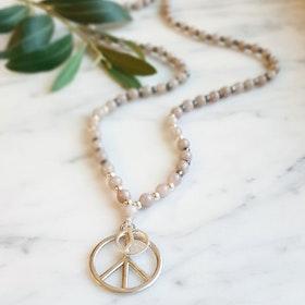 Stenhalsband Peace Silver Jade - Paz By Julia