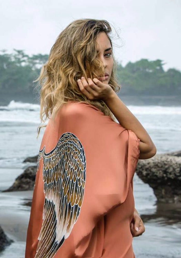 "Luxe silk kimono short ""Desert orange caramel wings"" - Warriors of the divine"