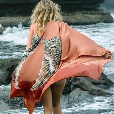 """Luxe silk kimono short """"Desert orange caramel wings"""" - Warriors of the divine"""