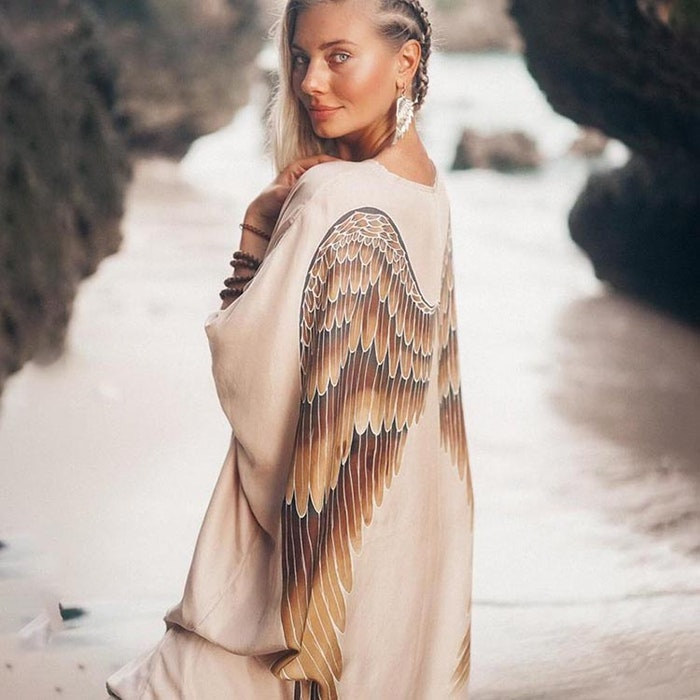 Luxe silk Kaftan Champagne caramel wings- Warriors of the divine