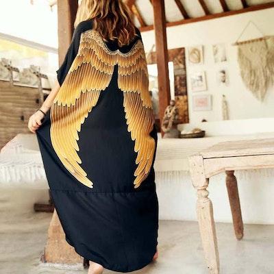 Luxe silk Kaftan Blac caramel wings- Warriors of the divine