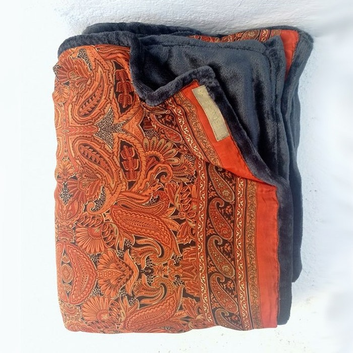 Yogafilt Sari/silke vintage rust orientalisk - E-swiss