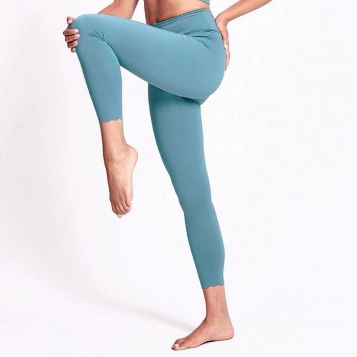 Yogaleggings Scallop Mineral Teal 7/8 - Dharma Bums