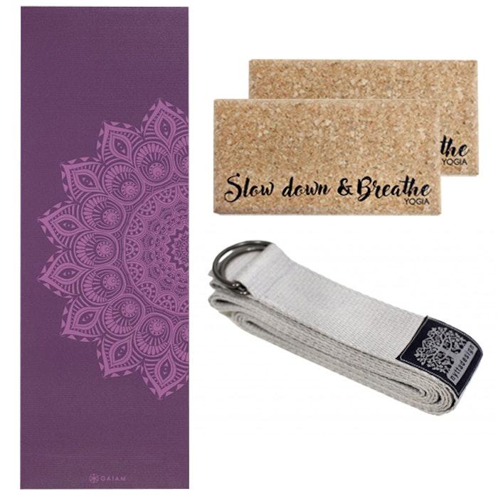 Yoga-Kit Purple Mandala & Silver 6mm