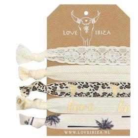 Hairties hårband/armband Leo creme - Love Ibiza