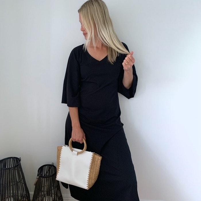 Ekologisk klänning/kaftan Peace black Limited Edition - Santa Ni