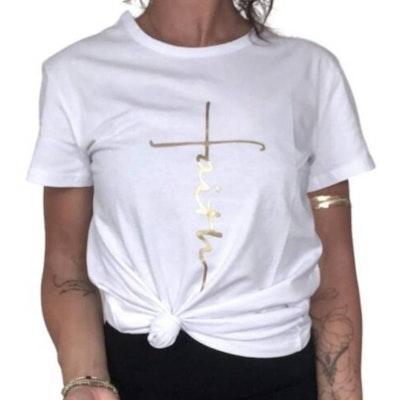 """T-shirt """"Faith"""" Vit - Vackraliv Yoga"""