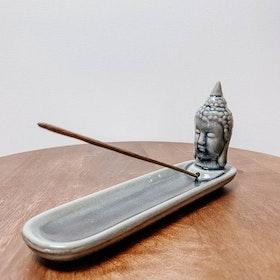 Rökelsehållare Keramik Avlång Buddha Mörkgrå