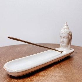 Rökelsehållare Keramik Avlång Buddha Creme