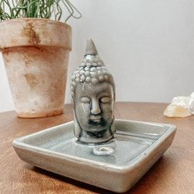 Rökelsehållare Keramik Kvadratisk Buddha Grå