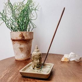 Rökelsehållare Keramik Kvadratisk Buddha Grön