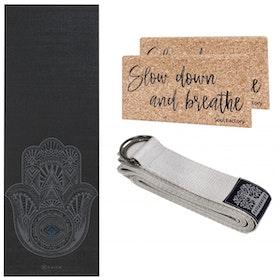 Yoga-Kit Grey Hamsa & Silver 4mm