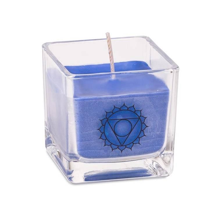 Doftljus av ekologisk rapsvax Blå, Vishuddi chakra
