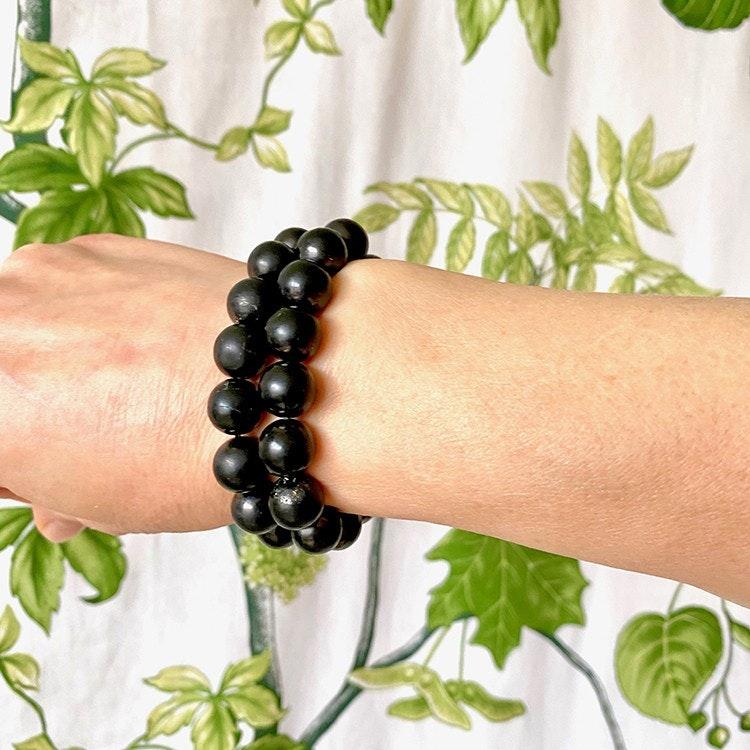Shungit armband 12 mm pärlor