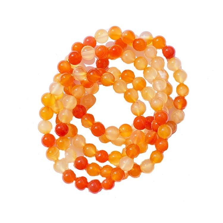 Karneol elastiskt armband av 5 mm pärlor