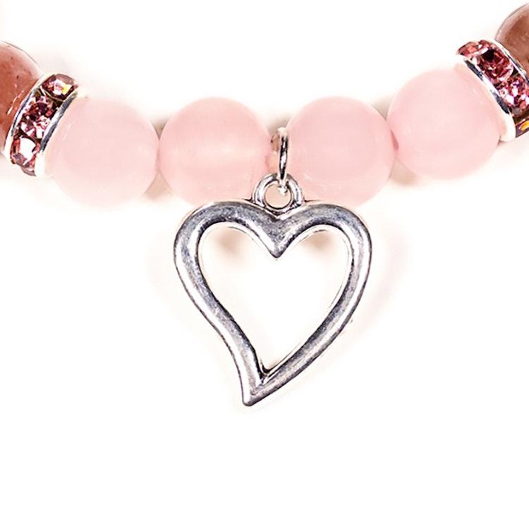 Armband Rosenkvarts och Jordgubbskvarts med hjärta