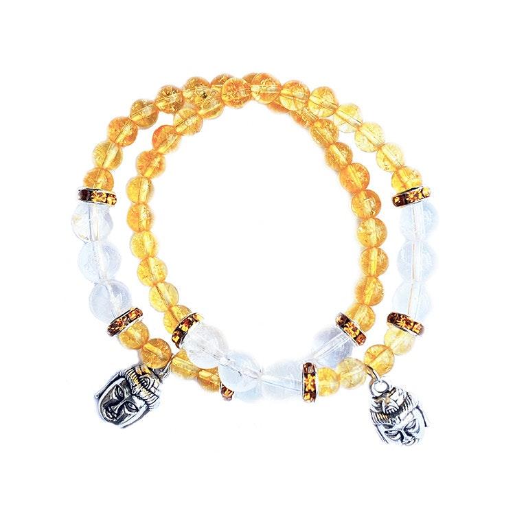 Armband Citrin och Bergkristall med Buddha