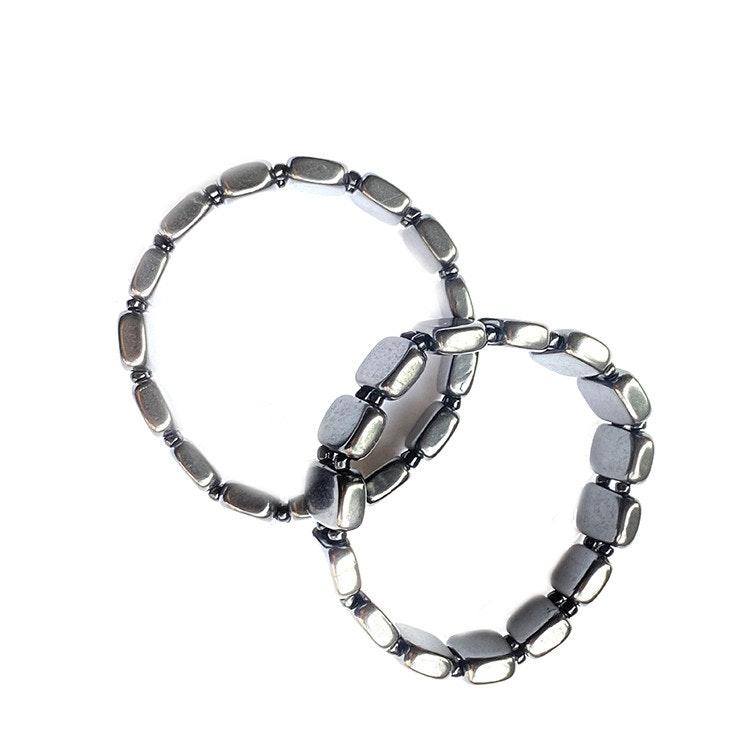 Shungit armband med rektangulära plattor