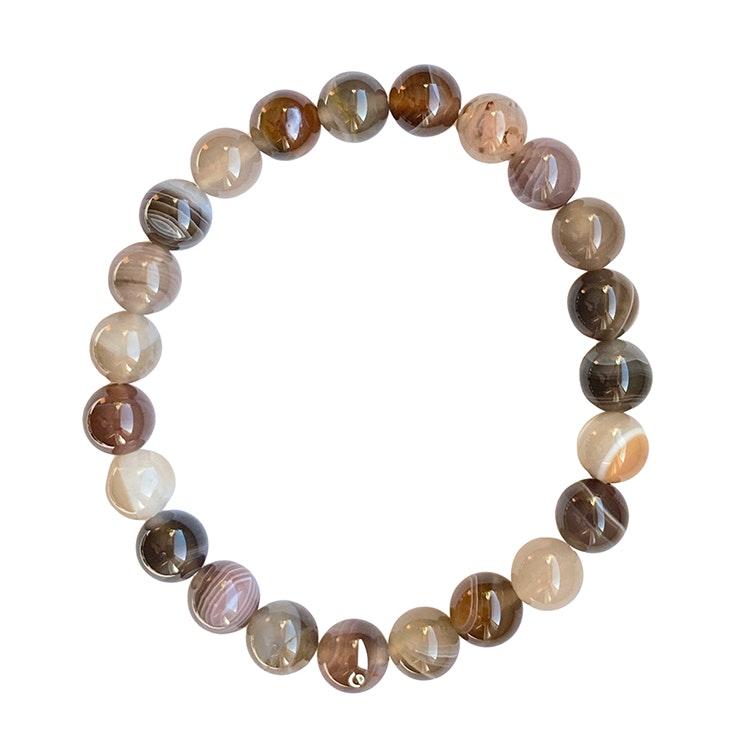Armband av Botswana Agat 8 mm pärlor