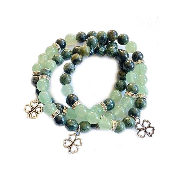 Jasper & Grön Aventurin armband med lyckoklöver 8 mm pärlor
