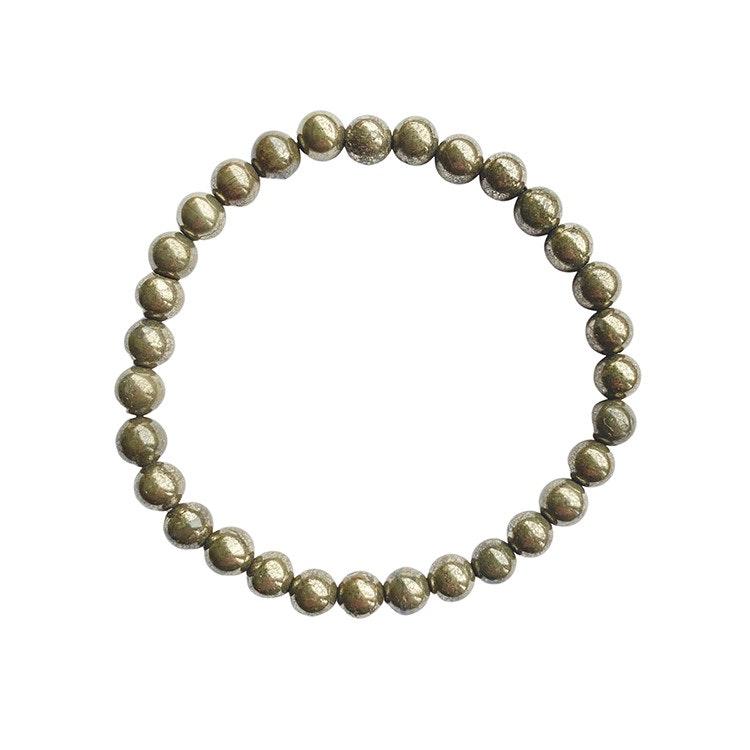 Pyrit armband 6 mm pärlor