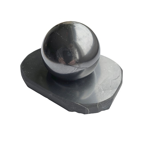 Shungit kula polerad 5 cm med shungitställ