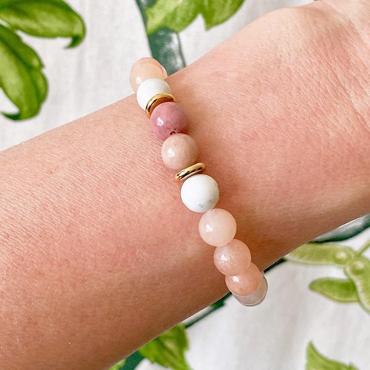 Rodonit & Aventurin armband 8 mm pärlor