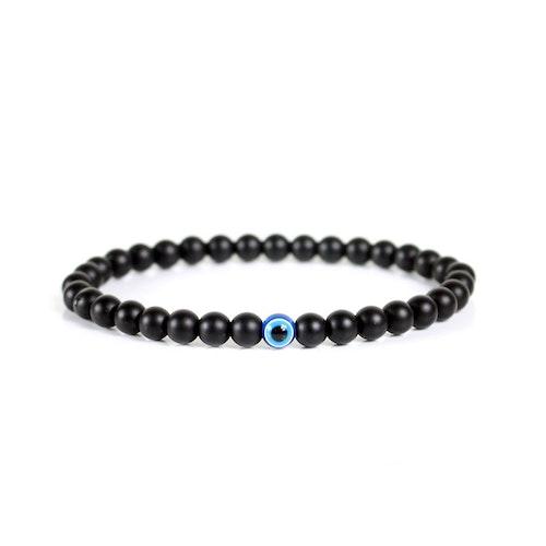 """Svart obsidian armband 6 mm med """"skyddsöga"""""""