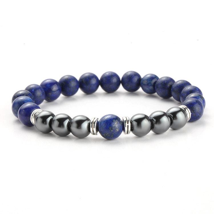 Lapis Lazuli och Hematit armband för större handled