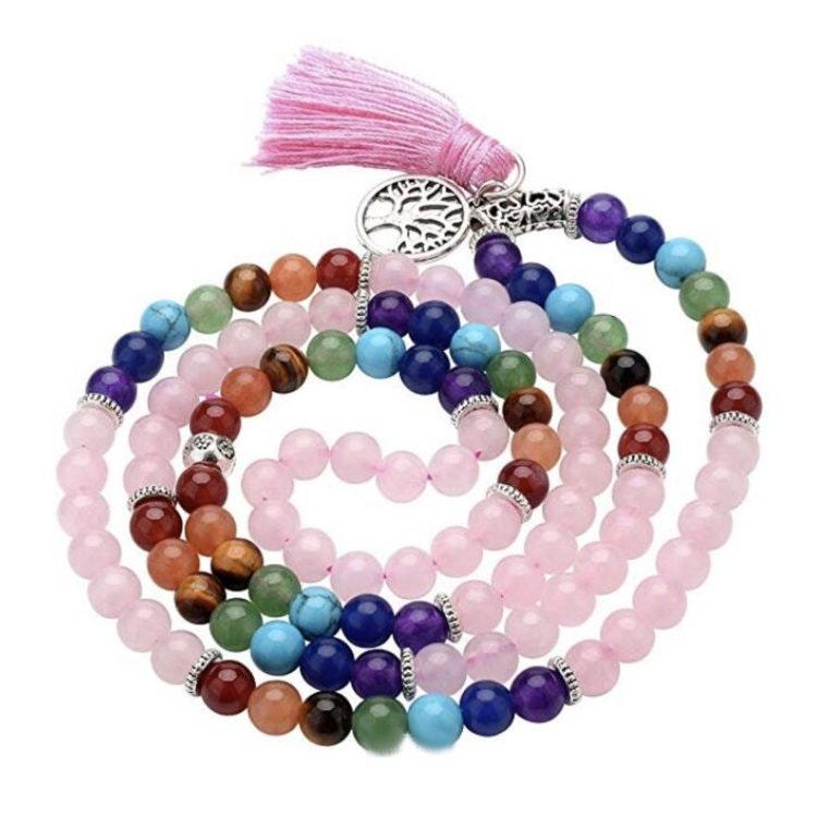 7 Chakra Mala Rosenkvarts 108 pärlor