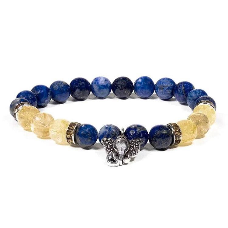 Lapis Lazuli och Rutilkvarts armband med Ganesh