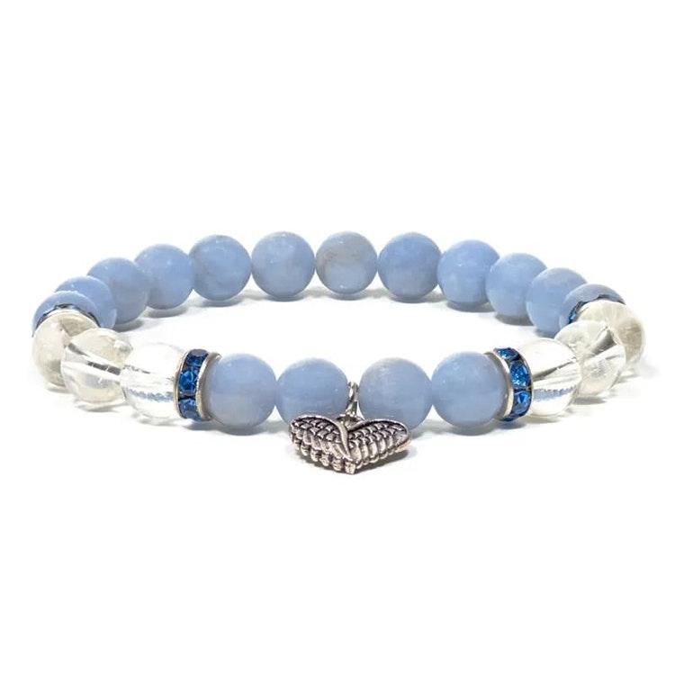 Angelit och Bergkristall armband med änglavingar