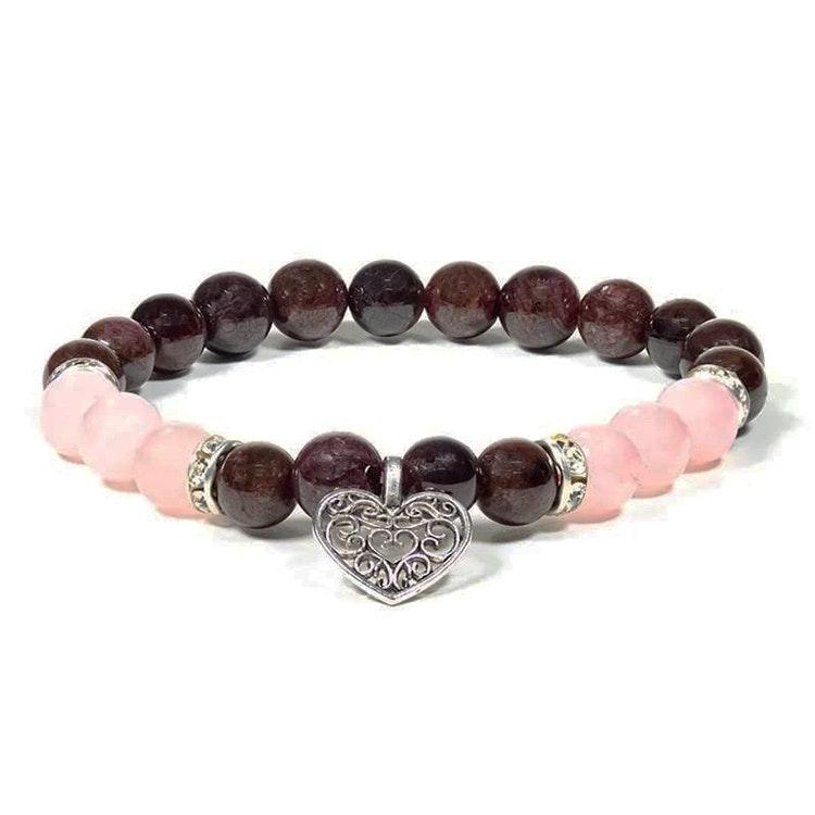 Granat och Rosenkvarts armband med Hjärta