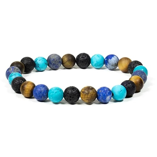 Turkos, Tigeröga, Lapis lazuli och Lava armband