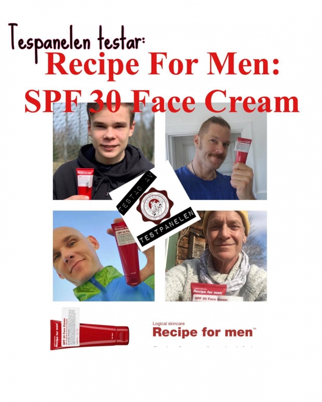 Betygsättning av Recipe for men SPF 30 Face cream.