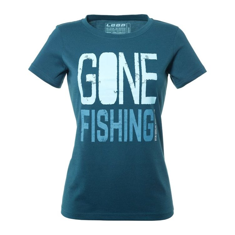 Womens Gone Fishing T-Shirt, Dark Slate