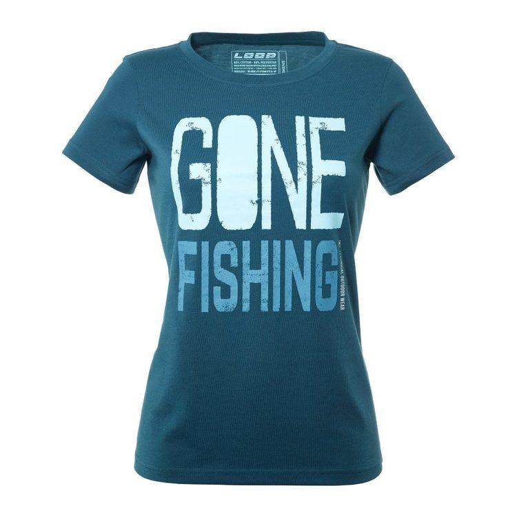 Womens Gone Fishing T-Shirt, Dark Slate
