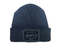 Ahrex Ribbed Knit Woven Patch Beanie Dark Grey