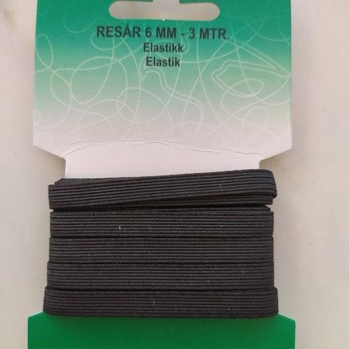 Kopia Resårband 3 meter, 6 mm bredd, i förpackning Svart