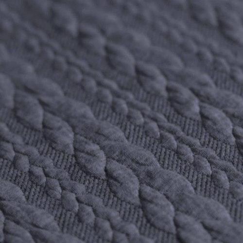 6 dm Klippt bit - Jaquard - Kabelstickad Jeansblå