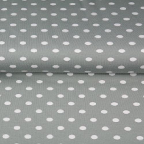 11dm klippt bit - STENZO Bomullstrikå - Grå / grön med större vita prickar