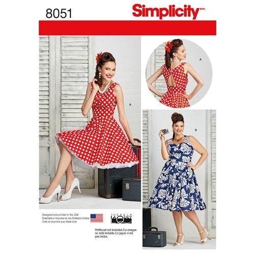 Simplicity 8051 AA Dam Storlek 36-44 Klänning