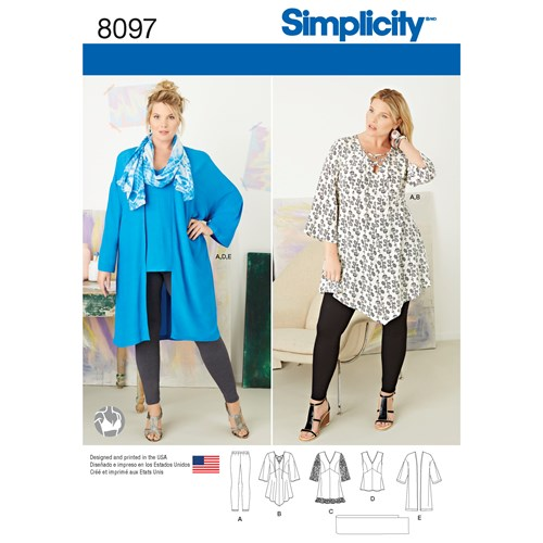 Simplicity 8097 GG Dam stl 52-58 Flera plagg