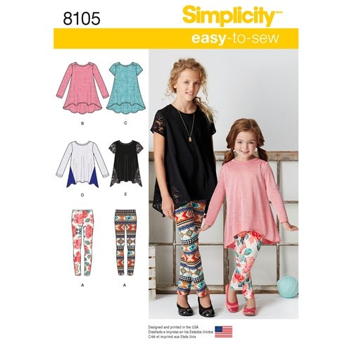 Simplicity 8105 K5 Barn Storlek 7-14 Tunika Leggings